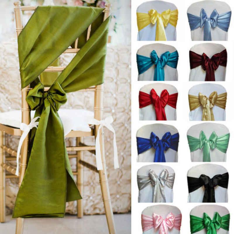 """Лидер продаж 75 шт. 21 цвет 6 """"x 110"""" атласная стул створки Bow полосы для Свадебная вечеринка украшения питания, Бесплатная доставка"""
