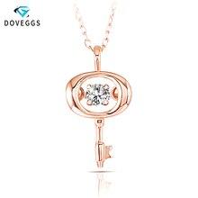 DovEggs 10K Rose Gold Center 0.1ct Carat Diamond Pendant Nec