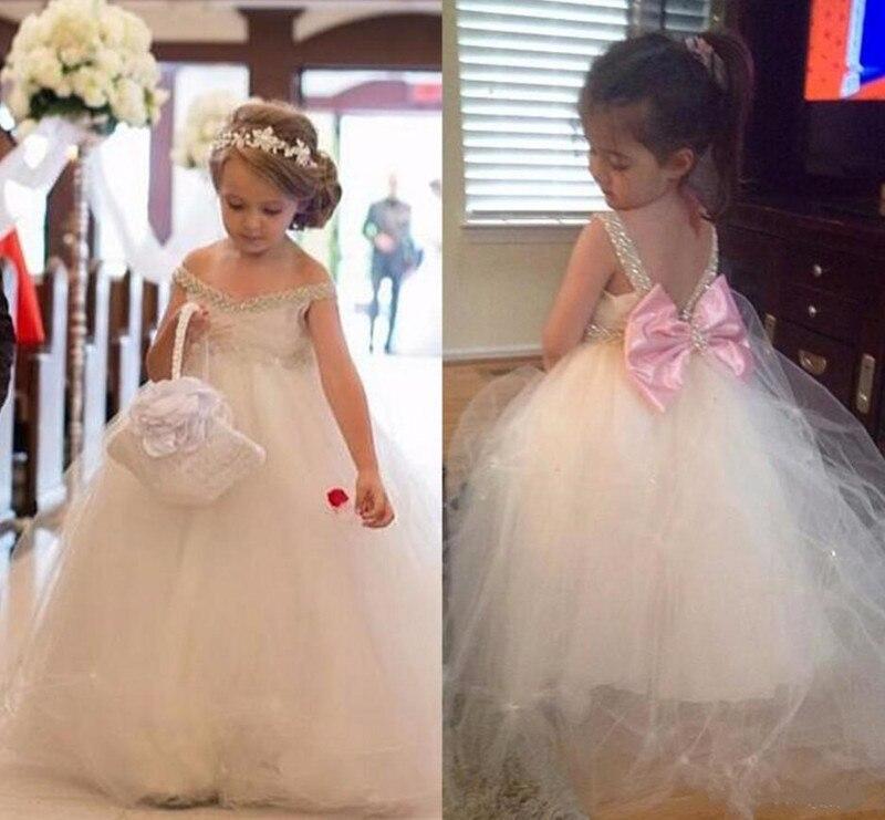 Lovely   Flower     Girl     Dress   For Wedding With Bow Beading V-Neck Sleeveless Custom Made Princess   Dress   Open Back Vestido De Fiesta