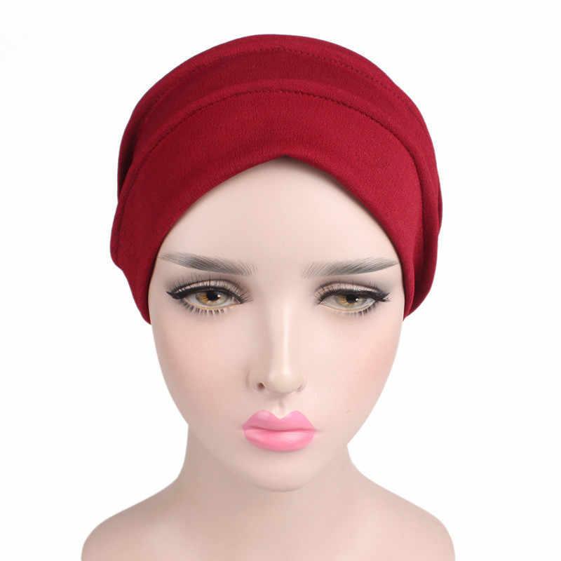 Новая эластичная повязка Hat женские хиджабы мусульманские шапки женские аксессуары для волос простой дизайн банданы заколки для девочек Skullies