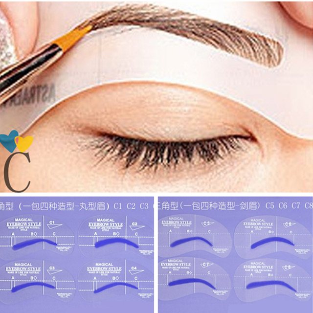 8pcs C Styles Brow Painted Eyebrow Pencil Stencils Model Template Stencil for Eye Eyebrow