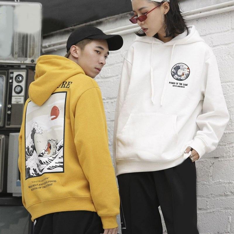 Mode Harajuku Hoodies Caractère Femmes à manches longues pulls décontractés Japon des Pulls Lâche Couple Shirts Streetwear