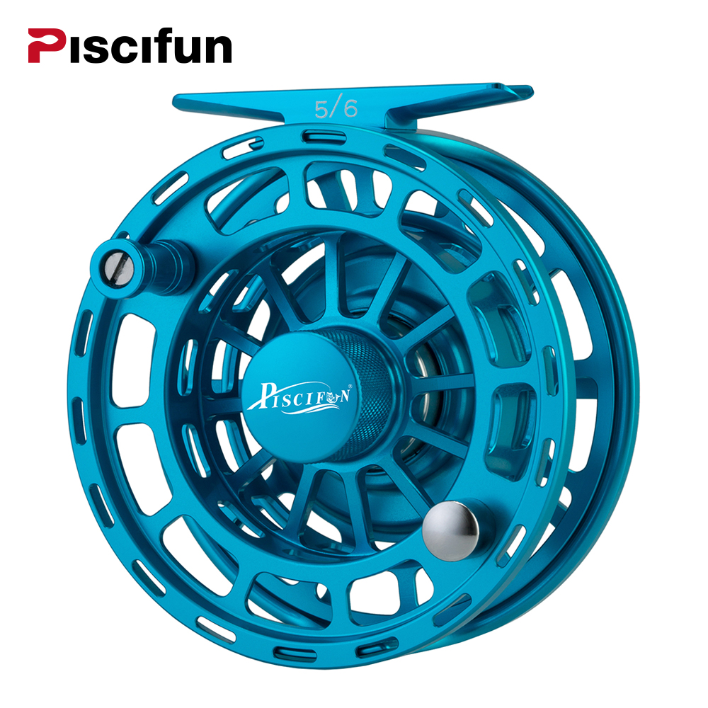 Piscifun Platte Blue Fly Fishing Reel 3/4 5/6 7/8 9/10 WT CNC Machine Cut Fishing Reel Large Arbor Aluminum Fly Reel maximumcatch 06n 2 3 4 5 6 7 8wt fly fishing reel cnc machine cut large arbor aluminum silver color fly reel page 8