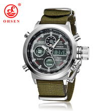 OHSEN Brand Men Sports Watches LED Digital Quartz Fashion Watch Outdoor Fabric Wristwatches Relogio Masculino AS17