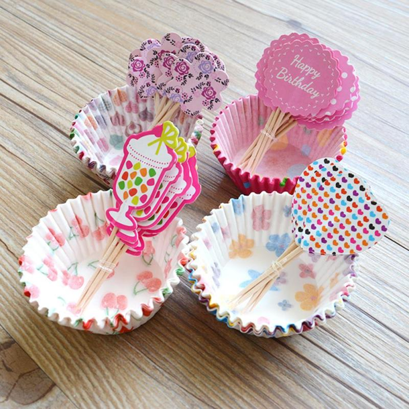 24pcs/set cute Paper Cake Cupcake Liner + DIY flags Baking Muffin Box Cup Case Party Tray Cake Mold Decorating Tools R2-13L