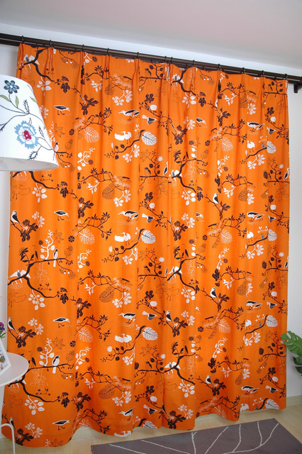 Curtains For The Living Room Orange Base With Black Birds Print Blackout  Curtain Fancy Window Curtains