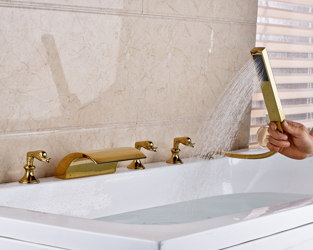 Gold Finished Deck Mounted Widespread 5pcs Bathroom Tub Faucet Mixer Tap With Hand Shower