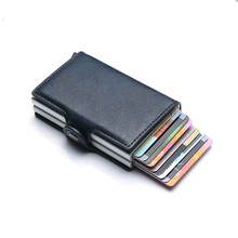 Anti Rfid Protection Men Women id Credit Card Holder Wallet Metal Leather Aluminum Business Bank Card Case CreditCard Cardholder bank id business phone bag credit card holder men wallet male purse for cover case pocket cardholder plastic creditcard portmann