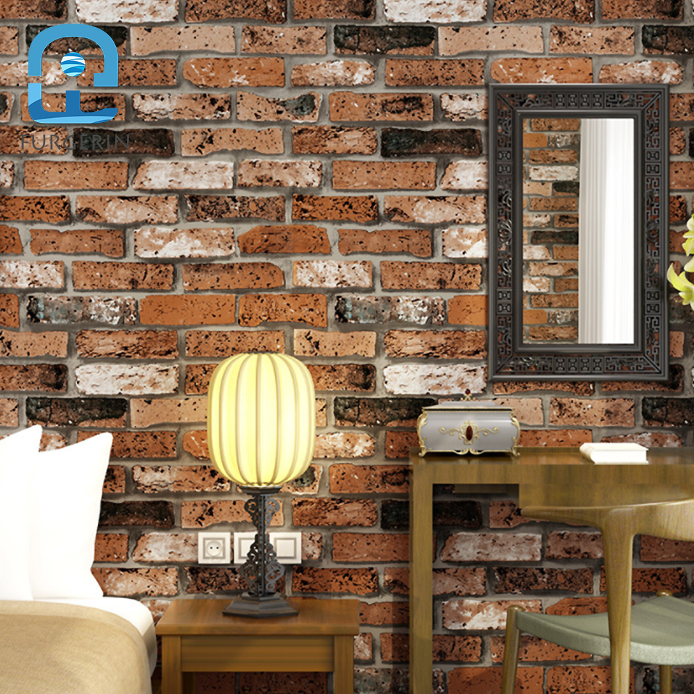 FURGERIN rouge brique papier peint rouleau papier peint 3d mur papier brique pierre papier peint décor à la maison papiers peints pour chambre salon
