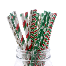 100pcs Eco-friendly Red and Green Christmas Drinking Paper Straws Party Birthday Decoration Favor Decor Tableware