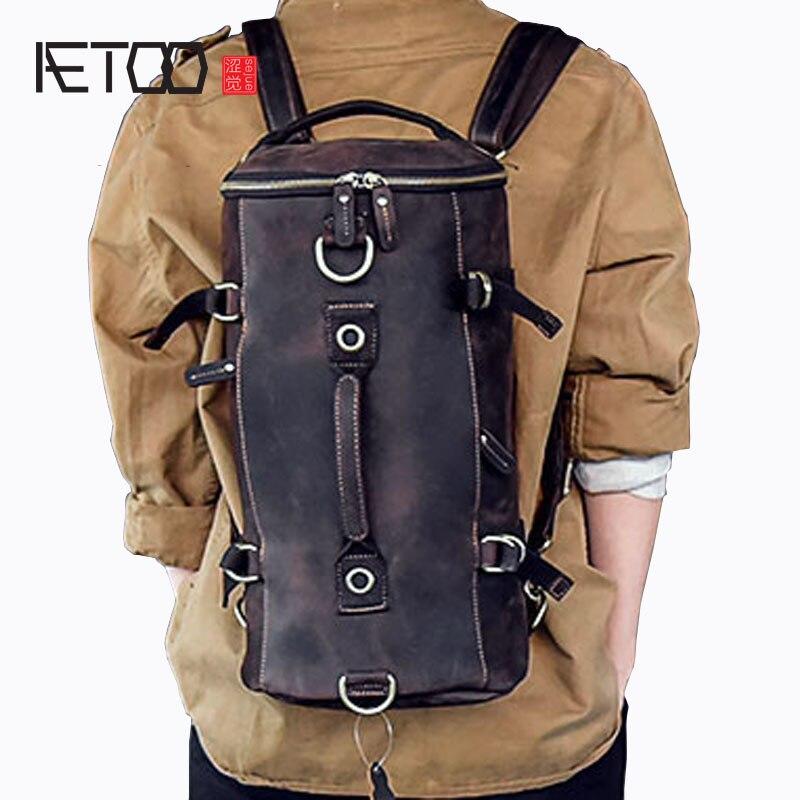 AETOO Multi-fonctionnelle de modèles de hommes en cuir d'épaule sac main-Fou petit voyage sac à dos seau sac