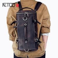 AETOO Multi functional models of men's leather shoulder bag hand Crazy small travel backpack bucket bag