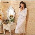 Mulheres Camisolas de Manga Longa Noite Vestido Sleepshirts Camisola Princesa Salão das Mulheres de Algodão Branco Longo Vestido de Noite Saia