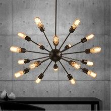 Mordern luz pingente Edison Lâmpada Luzes luminárias lustre Nordic Retro industriel Sótão ferro Antigo DIY E27 Aranha Lâmpada Do Teto