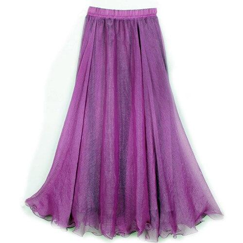 Sherhure 19 High Waist Women Chiffon Long Skirts Floor Length Ruffles White Summer Boho Maxi Skirt Saia Longa Faldas 46