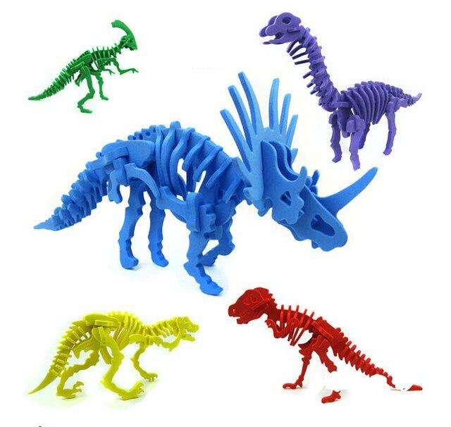 Kids Wooden Simulation Dinosaur Puzzle 3D Toy Dinosaur Skeleton Model Toys Model Building Kits Learning Educational Gift for Kid
