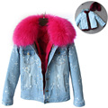 Woman Denim Large Raccoon Fur Collar coat Parkas Outwear 2 in 1 Detachable Lining Winter Jacket Coat Fashion Parkas 456