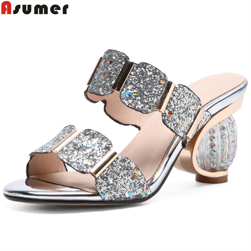 ASUMER 2019 fashion summer ladies slippers elegant comfortable Rhinestone prom wedding shoes women mules black big
