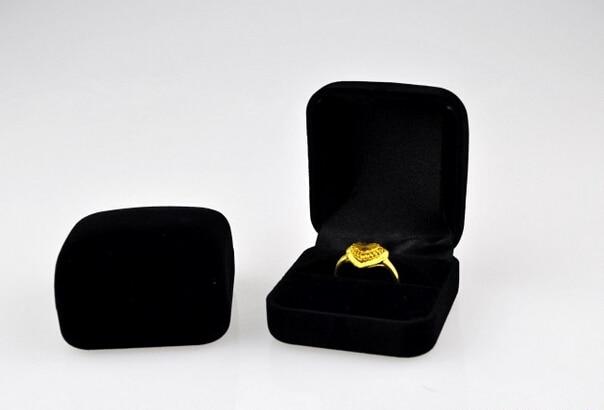 New Velvet Ring Box !Free Shipping 5.8*5.3*3.4cm 12pcs Black Romantic Wedding Velvet Ring Box Jewelry Display Gift Case