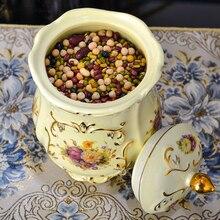 Керамика канистры, бутылки бак для хранения пищевых злаков бутылку меда кофе в зернах большой банок для хранения