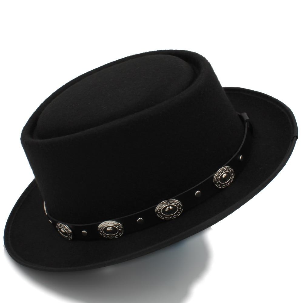 f93d0822 Women Men Pork Pie Hat Dad Wool Flat Fedora Hat For Lady Gentleman Gambler  Boater Trilby Hat Hat Size 58CM-in Men's Fedoras from Apparel Accessories