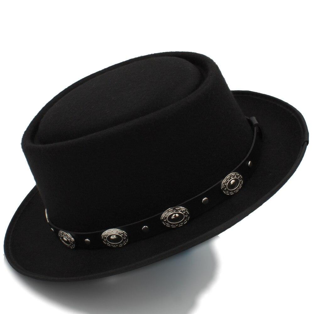 Women Men Pork Pie Hat Dad Wool Flat Fedora Hat For Lady Gentleman Gambler Boater Trilby Hat Hat Size 58CM chifres malevola png