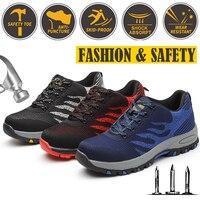 الرجال غطاء صلب لأصبع القدم الأزياء والأحذية حذاء امن للعمل في الهواء الطلق رياضية البناء أحذية أمان كبير حجم الأحمر الأزرق الرمادي