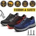 Männer Stahl Kappe Kappe Schuhe Mode Arbeit Sicherheit Schuhe Outdoor Turnschuhe Bau Sicherheit Schuhe Große größe Rot Blau Grau