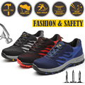 Mannen Stalen Neus Schoenen Mode Veiligheid Werkschoenen Outdoor Sneakers Bouw Veiligheid Schoenen Grote maat Rood Blauw Grijs