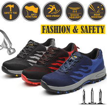Men's Steel Toe Cap Shoes Fashion Work Safety Shoes Outdoor Sneakers Construction Safety Shoes Large size Red Blue Gray