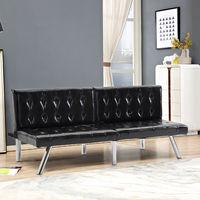 Giantex Split Back Futon Sofa Bed PU Convertible Couch Bed Modern Recliner Sleeper Chrome Legs Living Room Furniture HW56718BK