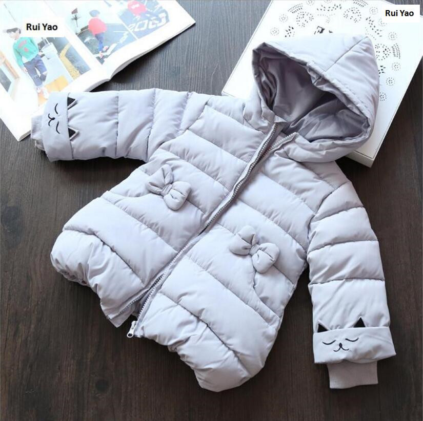 winter jacket for girls coat gray embroidery cat hoode baby jacket outerwear fashion kids clothes boutiques