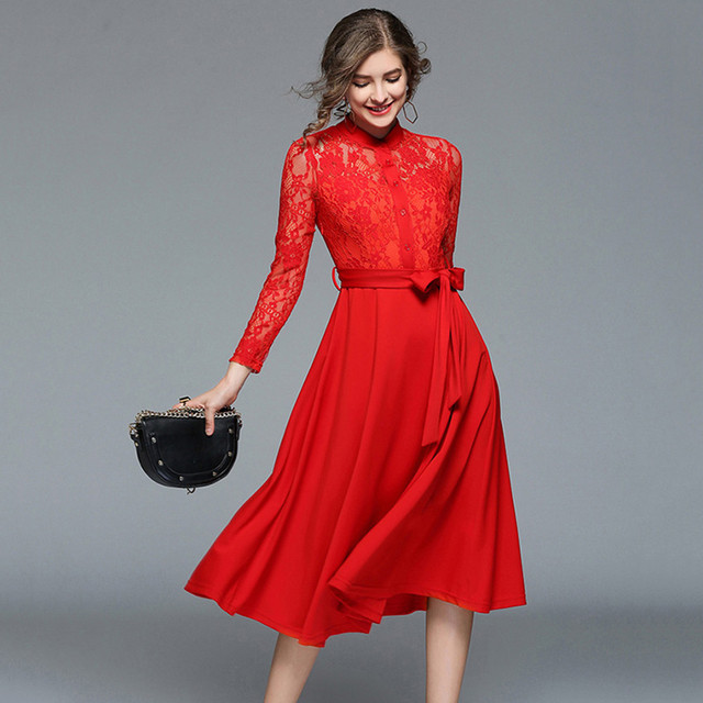 fc864a5880a European Fashion Runway Dresses 2018 Women Hollow Out Red Black Lace Dress  Ladies Office Elegant Party