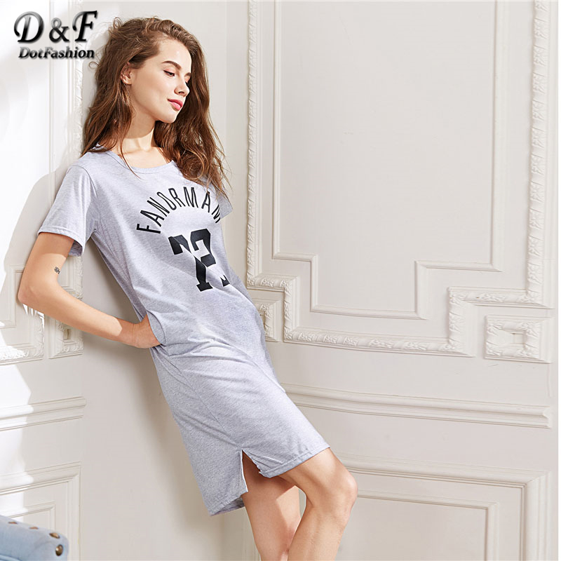 Dotfashion Varsity Print Slit Side Night Dress 2018 Round Neck Short Sleeve Pocket Nightwear Women Loose Casual Sleepwear