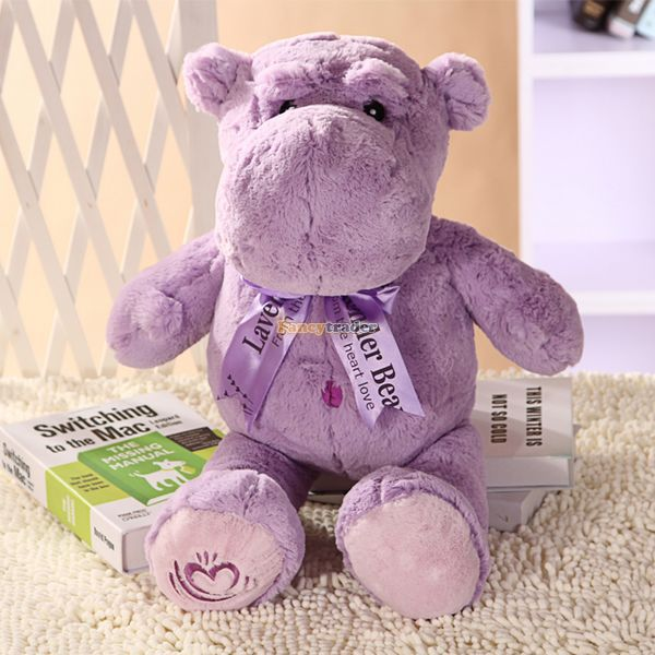 Fancytrader 2015 New 31'' / 80cm Giant Stuffed Plush Lavender Purple Hippo Toy, Nice Gift For Kids, Free Shipping FT50367 fancytrader 2015 novelty toy 24 61cm giant soft stuffed lovely plush seal toy nice gift for kids free shipping ft50541