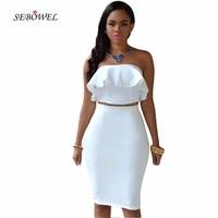 SEBOWEL 2017 Party Dress Ruffles Off Shoulder Strapless Midi Dress Two Piece Sets White Sexy Club