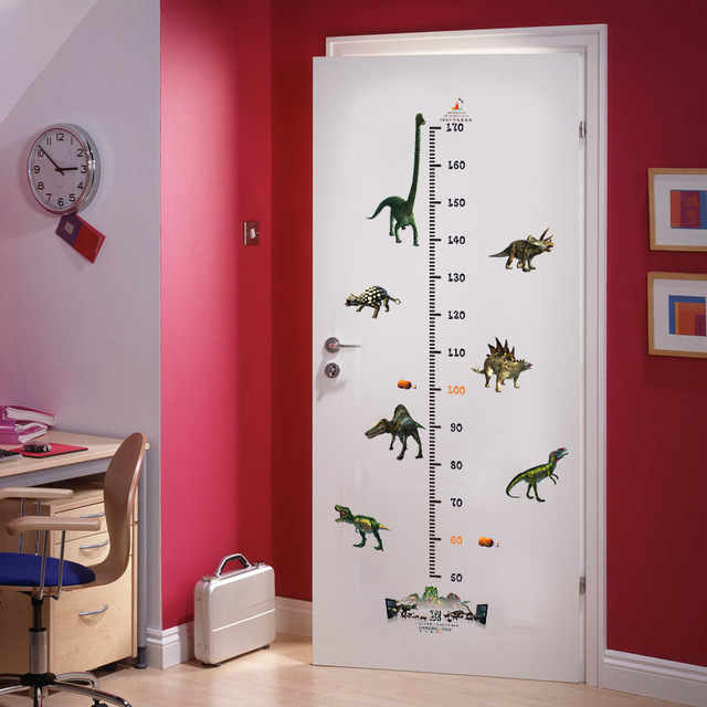 Dier Dinosaurus Hoogte grafiek Sticker Meubels Kinderkamer deur ...