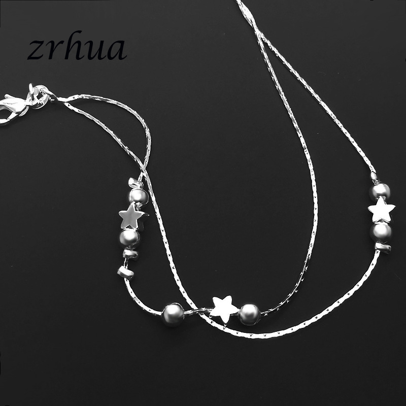 ZRHUA Tiny 925 Sterling Silver Beads Multilayer Chain Anklet for Women Girls Friend Foot Jewelry leg bracelet Bijoux 2