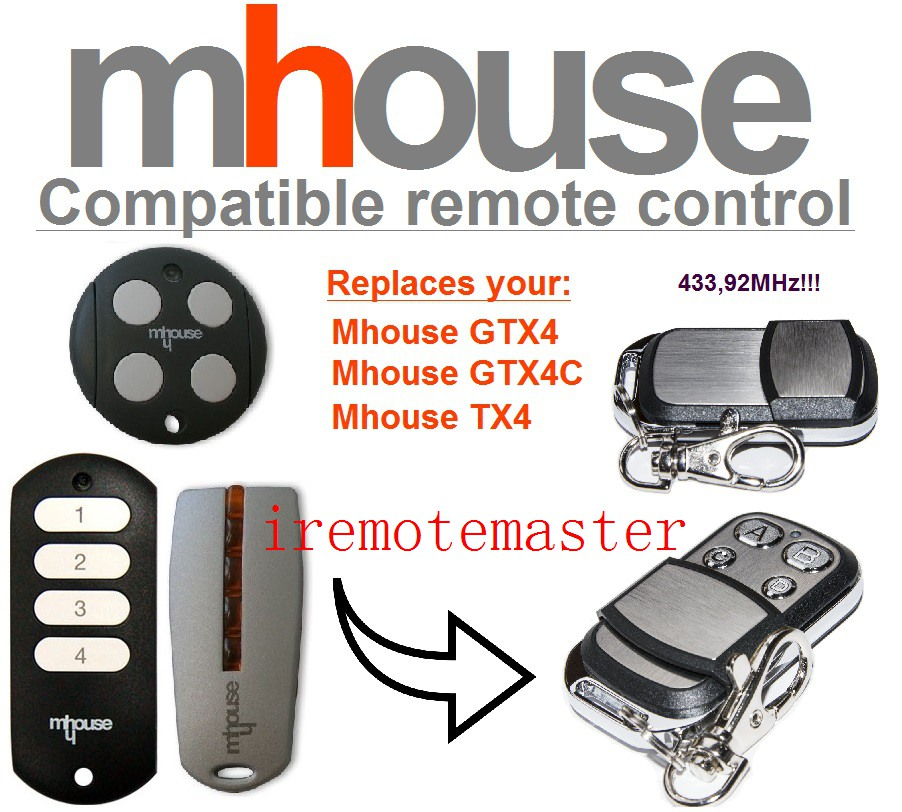 MHouse GTX4, GTX4C,TX4 universal remote control replacement 433mhz rolling code twindoor replacement remote control 433mhz rolling code