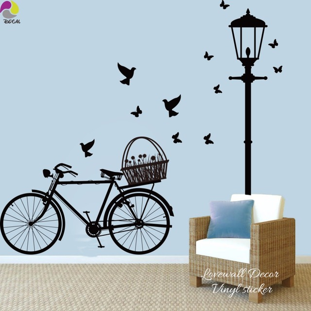 Street lamp bike wall sticker living room light bicycle for Kitchen colors with white cabinets with tandem bike wall art