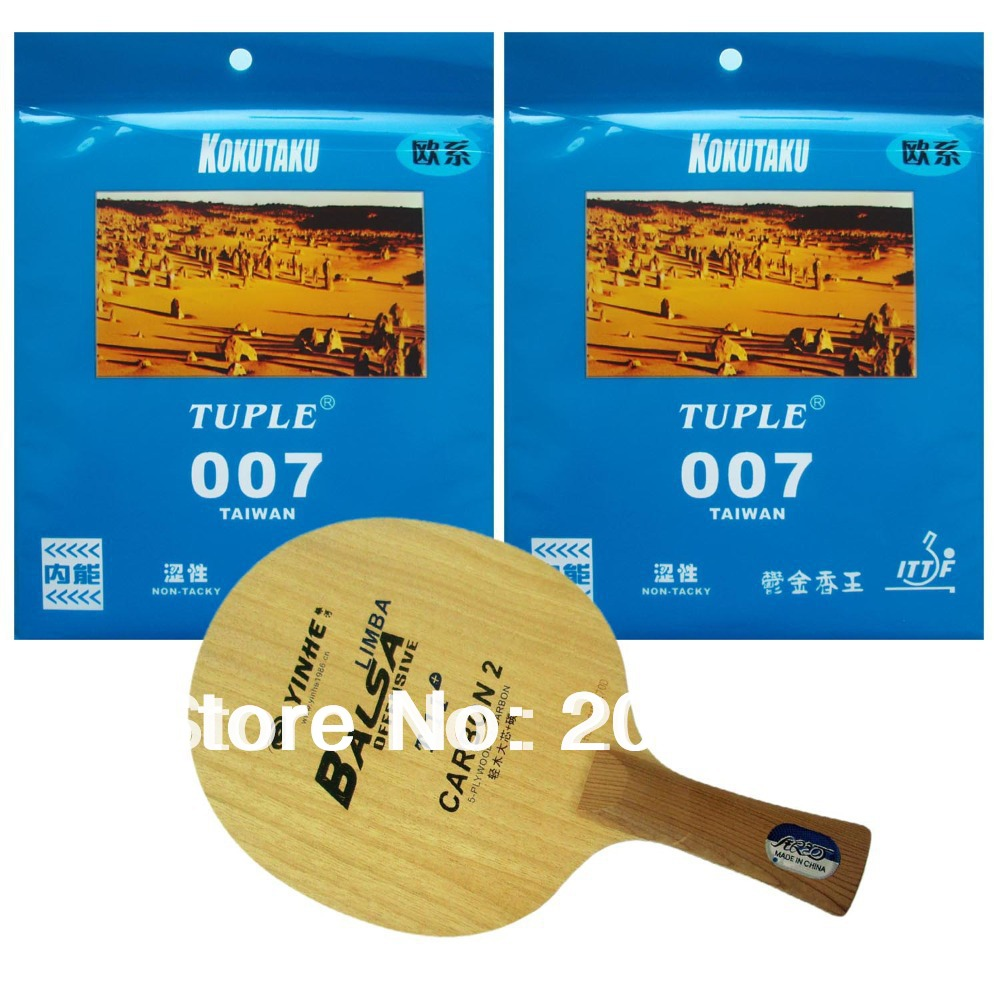 Pro Table Tennis PingPong Combo Racket: Galaxy YINHE T-11+ with 2Pieces Kokutaku Tuple 007 Non Tacky Long Shakehand FL galaxy yinhe emery paper racket ep 150 sandpaper table tennis paddle long shakehand st