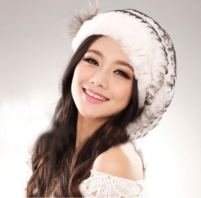 Hot ladies fashion excellent knitted real natural rex rabbit fur hat Genuine Women winter cap high quality beret hat