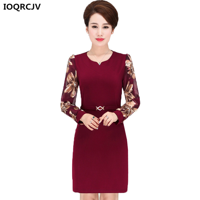 Plus velikosti 5XL Dámské šaty Nové Středně-věku Maminka Kostým Volné Velké velikosti Šifón Dlouhé rukávy Šaty Pro volný čas Jaro Ženy Šaty 60