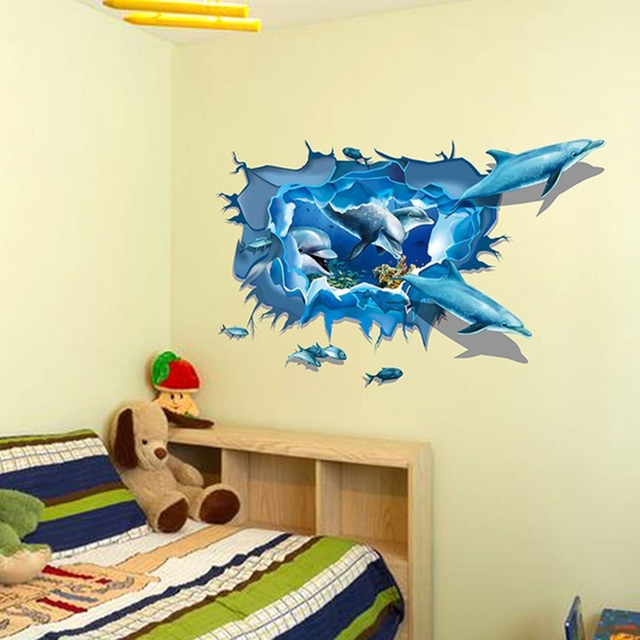 New Fashion Home Decor 3D Dolphins Blue Sea Aquarium Crack Wall ...