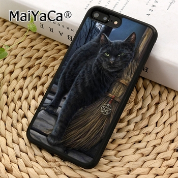 MaiYaCa Black Cat Salem Witches Broom Phone Case Cover For iPhone 11 12 Pro 5 6s 7 8 XR XS max Samsung galaxy S7 edge S8 S9 plus image