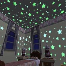 100 шт./пакет 3 см Светящиеся в темноте игрушки светящиеся наклейки-звездочки Спальня диван флуоресцентный игрушка раскраска ПВХ настенные наклейки для детской комнаты
