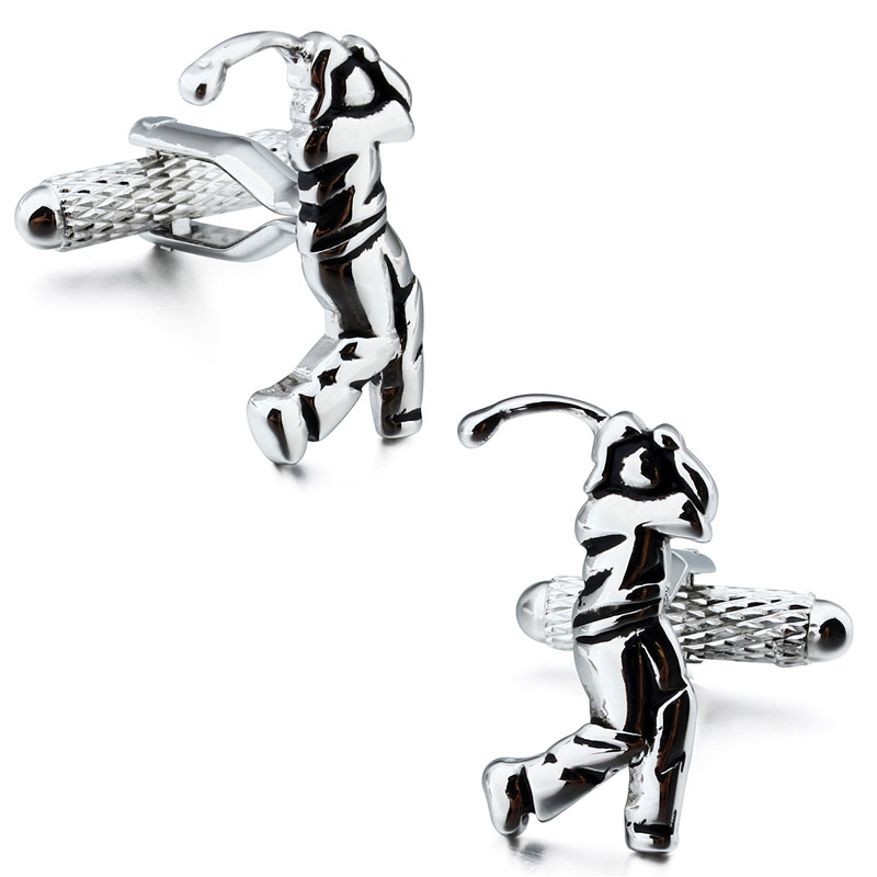 Sporty Playing <font><b>Golf</b></font> <font><b>Cufflinks</b></font> Fashion Shirt Cuff Links for Party Business Occasion with Box image