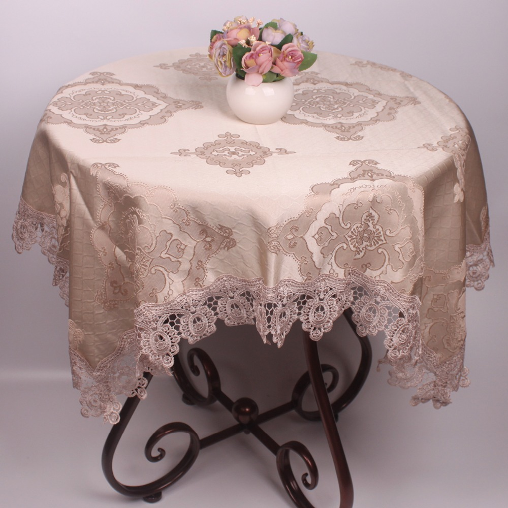 Europe Style Wedding Table Covers For Round Square Rectangular Tables / 3D  Embroidery Light Blue Brown
