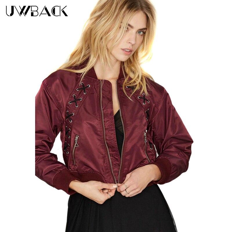 Uwback 2018 New Brand Bomber   Jacket   Red Satin Windbreak Lace-Up Women   Basic     Jacket   Slim Short Bomber   Jackets   Femme TB1163