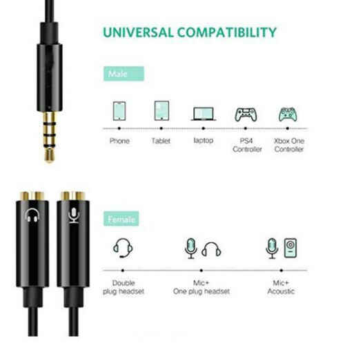 3.5mm Audio Mic Splitter Cable Earphone Headphone Adapter 1 Male To 2 Female for Computer PC  3.5mm Female to Dual 3.5mm Male